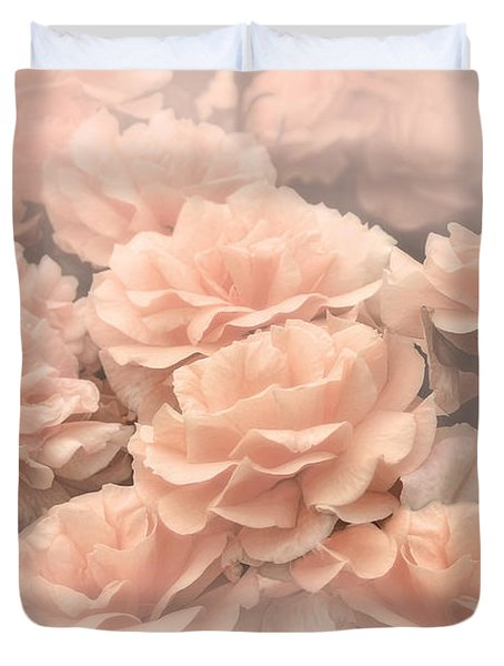Peach Pastels Rose Garden Duvet Cover