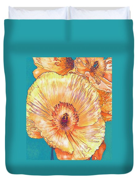 Duvet Cover featuring the digital art Peach Poppies by Jane Schnetlage