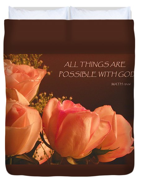 Peach Roses With Scripture Duvet Cover by Sandi OReilly