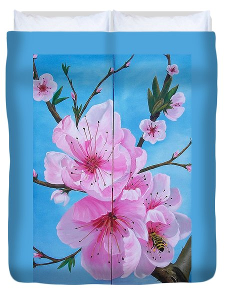 Peach Tree In Bloom Diptych Duvet Cover