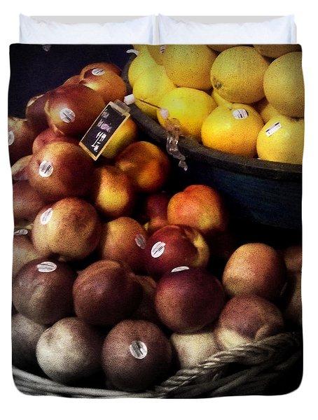 Peaches And Lemons Antique Duvet Cover by Miriam Danar