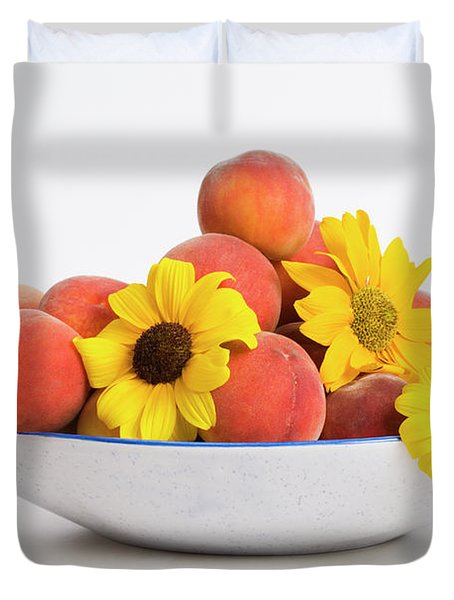 Peaches And Sunflowers Duvet Cover by Diane Macdonald