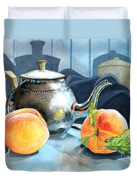 Peaches And Tea Duvet Cover by Barbara Jewell