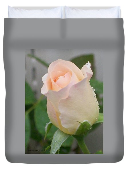 Duvet Cover featuring the photograph Fragile Peach Rose Bud by Belinda Lee