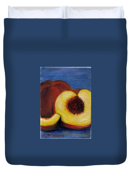 Peachy Keen Duvet Cover by Laurie Morgan