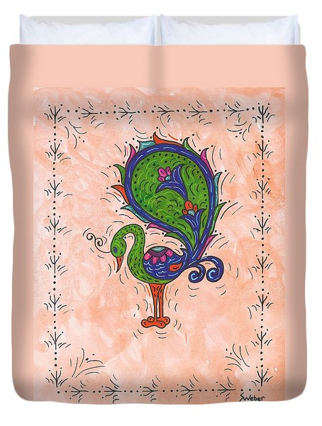 Duvet Cover featuring the painting Peachy Peacock by Susie Weber
