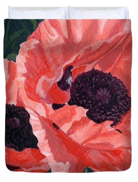 Duvet Cover featuring the painting Peachy Poppies by Lynne Reichhart