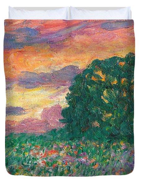 Peachy Sunset Duvet Cover by Kendall Kessler