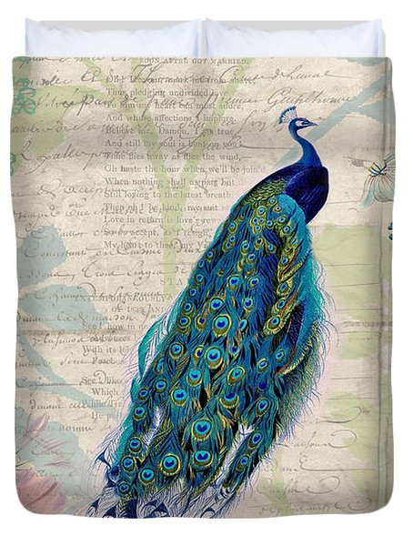 Peacock And Botanical Art Duvet Cover by Peggy Collins
