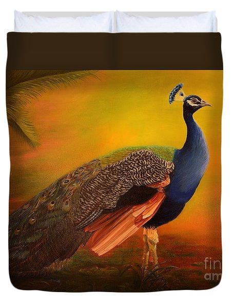 Peacock At Sunrise Duvet Cover