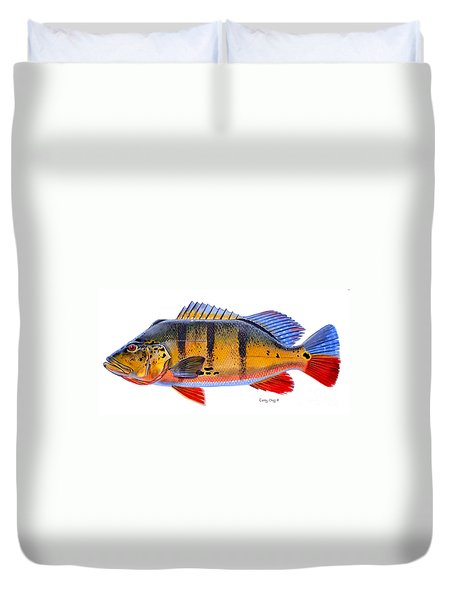 Peacock Bass Duvet Cover by Carey Chen
