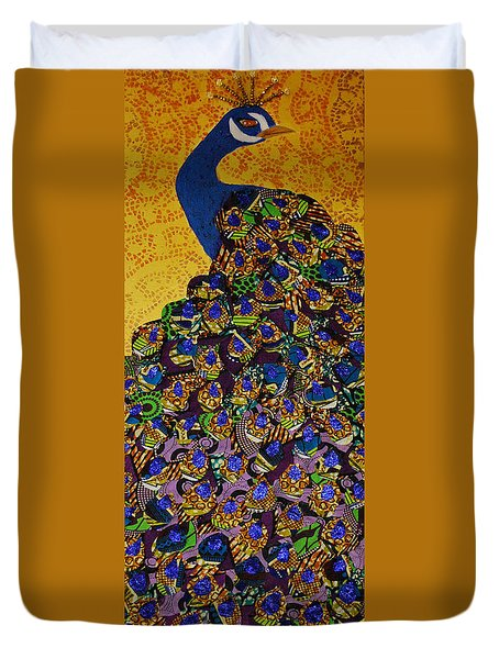 Duvet Cover featuring the tapestry - textile Peacock Blue by Apanaki Temitayo M
