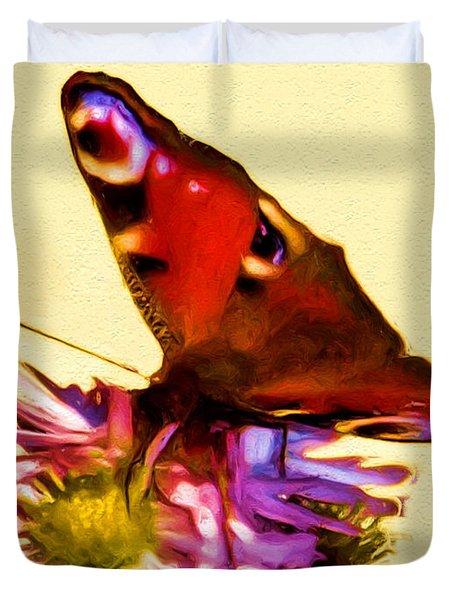 Duvet Cover featuring the digital art Peacock Butterfly by Daniel Janda