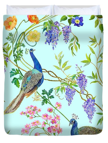 Peacock Chinoiserie Surface Fabric Design Duvet Cover by Kimberly McSparran