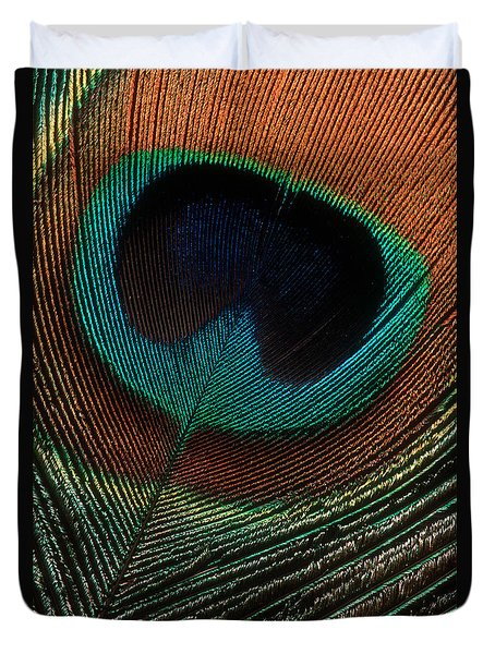 Duvet Cover featuring the photograph Peacock Feather by Jerry Fornarotto