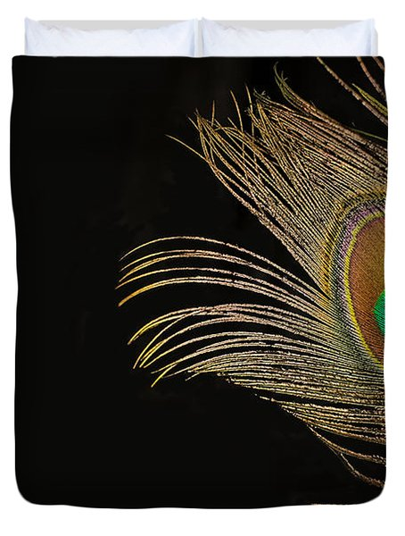 Duvet Cover featuring the photograph Peacock Feather Still Life by Lisa Knechtel