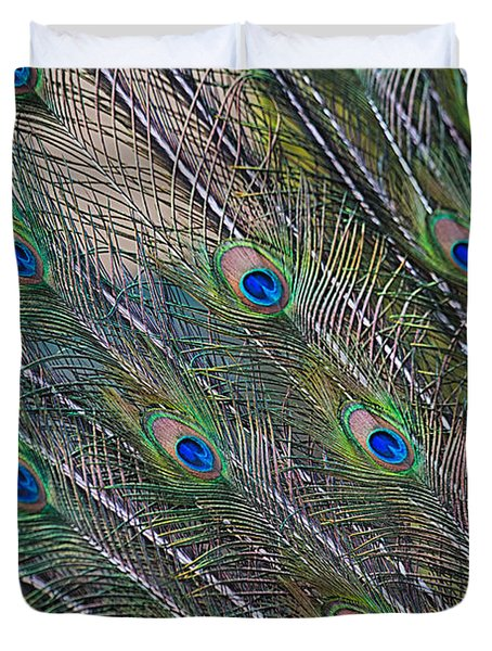 Peacock Feathers Abstract Duvet Cover by Eti Reid