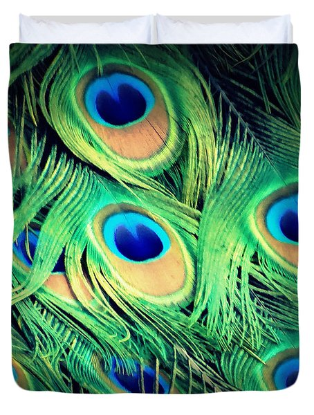 Peacock Feathers Duvet Cover by David Mckinney