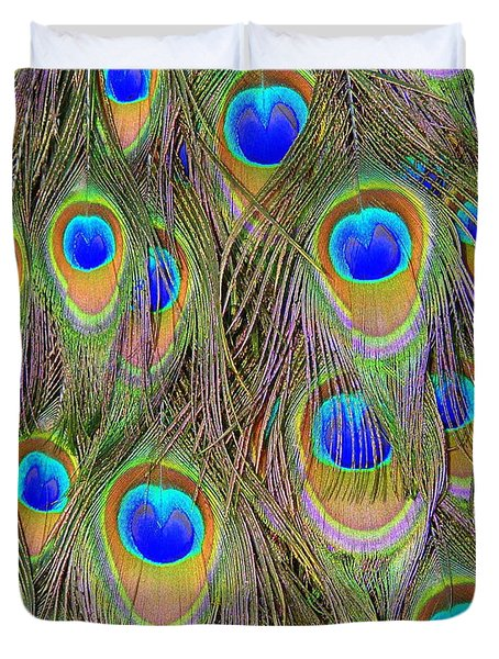Peacock Feathers Duvet Cover by Ramona Johnston