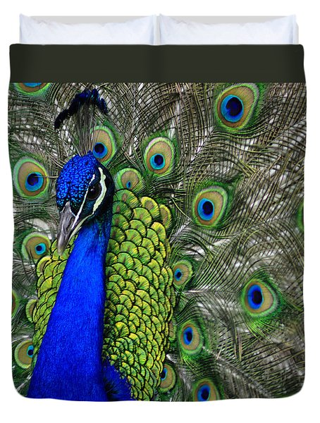 Peacock Head Duvet Cover by Debby Pueschel