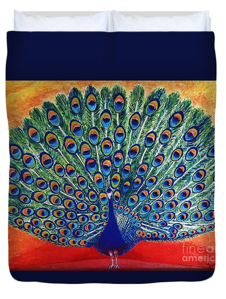 Duvet Cover featuring the painting Peacock By Jasna Gopic by Jasna Gopic