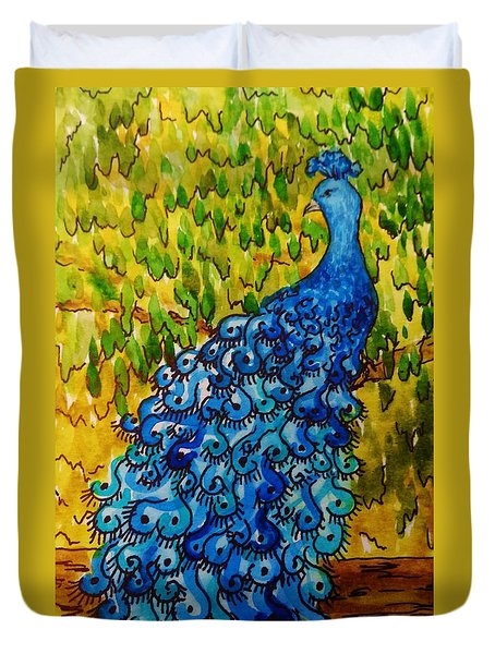 Duvet Cover featuring the painting Peacock by Katherine Young-Beck