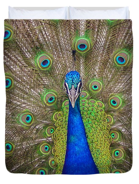 Duvet Cover featuring the photograph Peacock by Leigh Anne Meeks