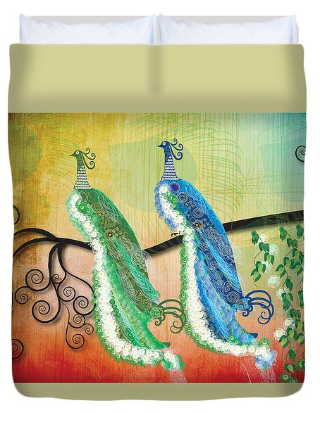 Peacock Love Duvet Cover