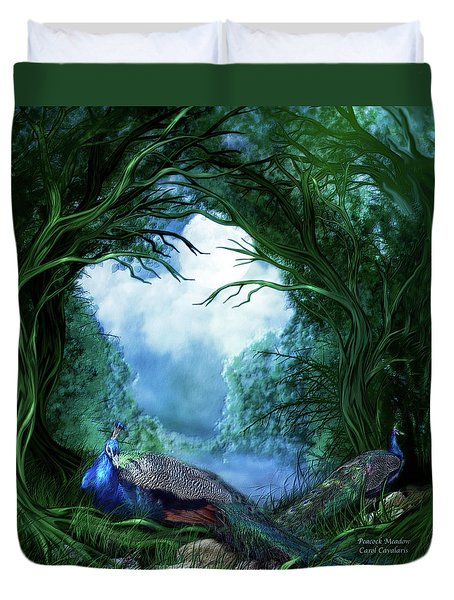 Duvet Cover featuring the mixed media Peacock Meadow by Carol Cavalaris