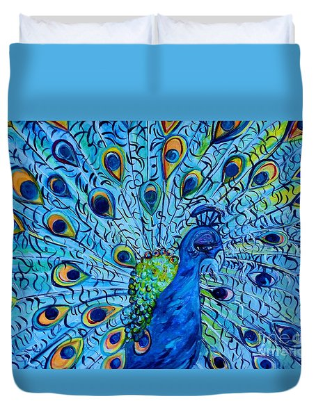 Duvet Cover featuring the painting Peacock On Blue by Eloise Schneider