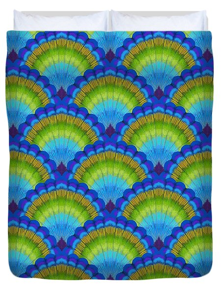 Peacock Scallop Feathers Duvet Cover