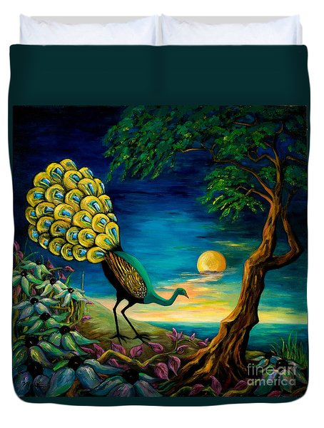 Peacock Strolls On The Beach Duvet Cover by Larry Martin