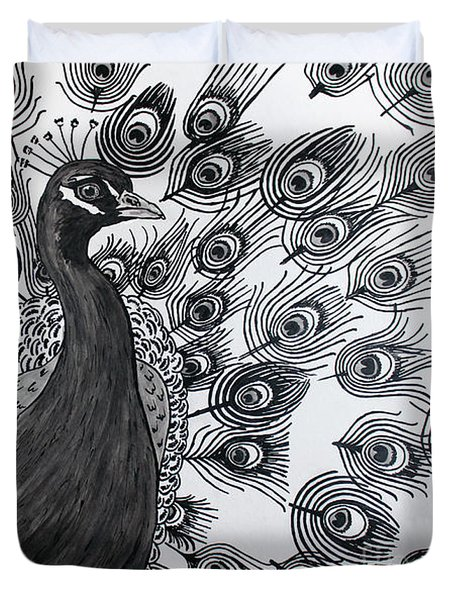 Duvet Cover featuring the drawing Peacock Walk by Megan Dirsa-DuBois