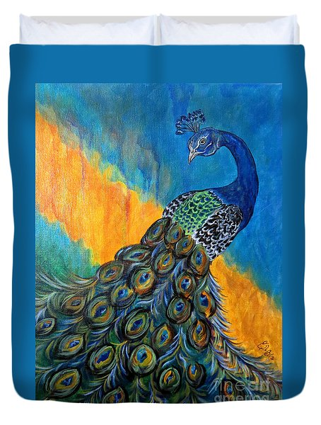 Duvet Cover featuring the painting Peacock Waltz #3 by Ella Kaye Dickey