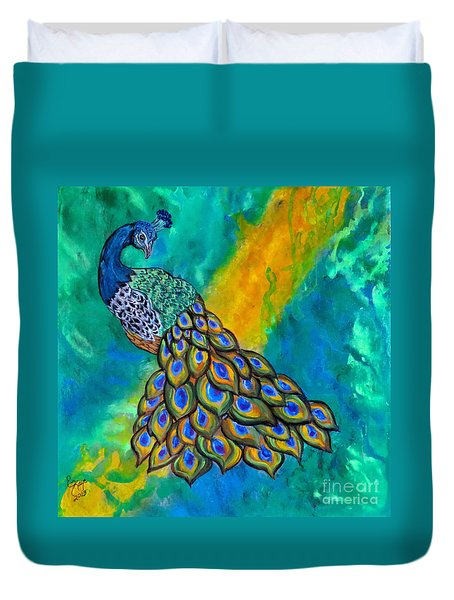 Duvet Cover featuring the painting Peacock Waltz II by Ella Kaye Dickey
