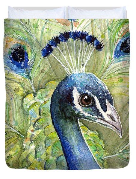 Peacock Watercolor Portrait Duvet Cover