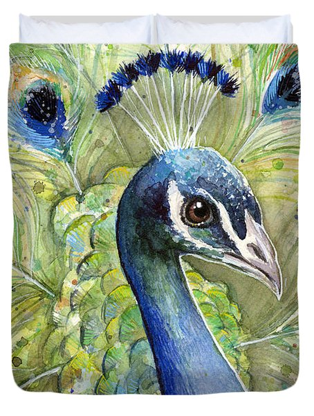 Peacock Watercolor Portrait Duvet Cover