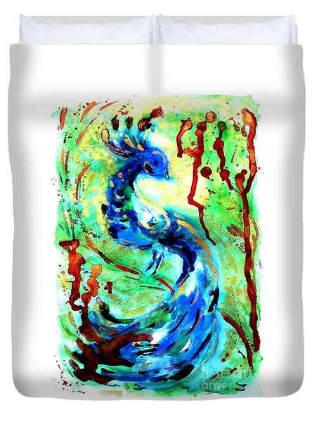 Peacock Duvet Cover by Zaira Dzhaubaeva