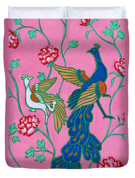 Peacocks Flying Southeast Duvet Cover