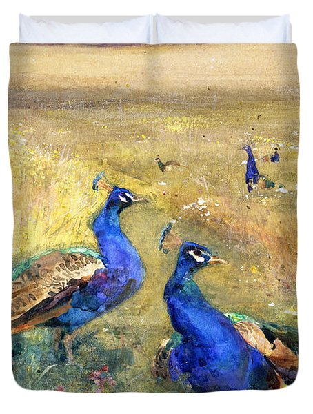 Peacocks In A Field Duvet Cover by Mildred Anne Butler