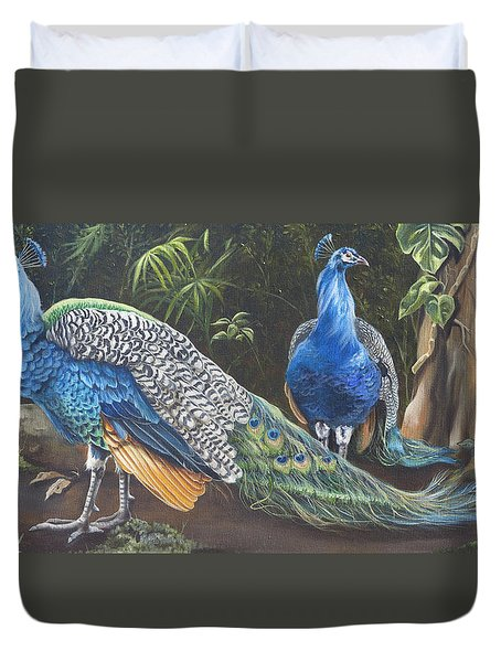 Peacocks In The Garden Duvet Cover by Phyllis Beiser
