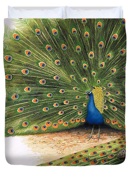 Peacocks Duvet Cover by RB Davis