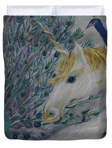 Peacocks With Unicorn Duvet Cover