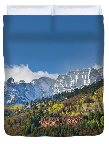 Peaks After First Snow Rockies Duvet Cover