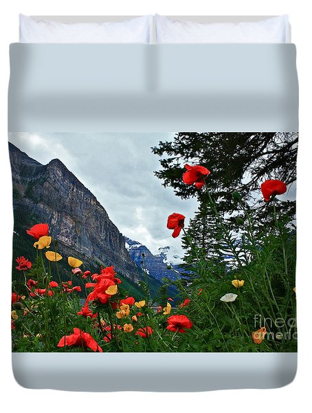 Peaks And Poppies Duvet Cover
