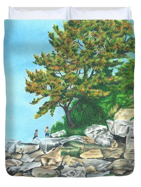 Duvet Cover featuring the drawing Peaks Island by Troy Levesque