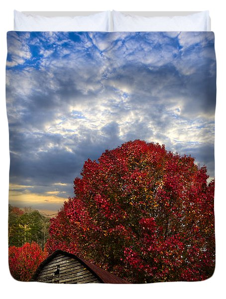 Pear Trees On The Farm Duvet Cover by Debra and Dave Vanderlaan