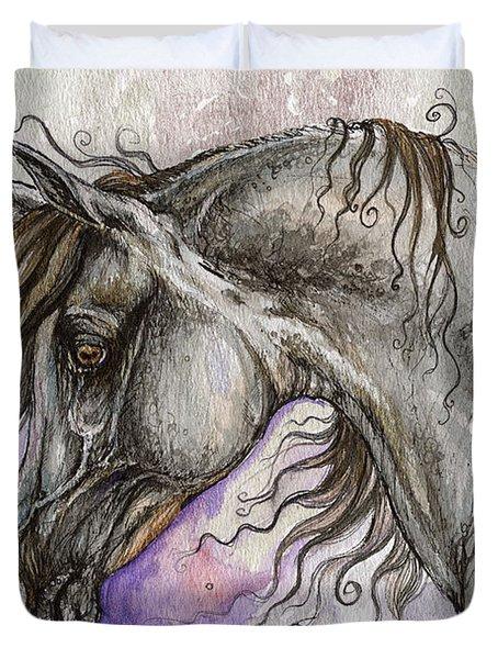 Pearl Arabian Horse Duvet Cover by Angel  Tarantella