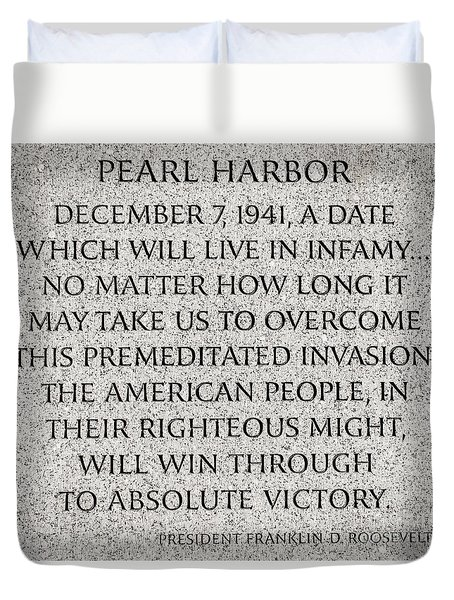 Pearl Harbor Speech - Franklin Delano Roosevelt Duvet Cover