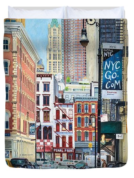 Pearl Paint Canal St. From Mercer St. Nyc Duvet Cover